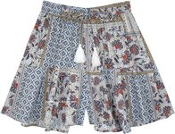 Classy Floral Rayon Modal Shorts with Tassels