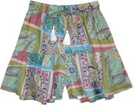 Abstract Floral Forest Green Cotton Voile Skorts