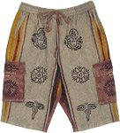 Unisex Hippie Thick Cotton Cargo Shorts with Ethnic Symbols