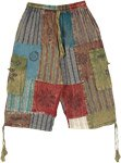 Mixed Patchwork Bohemian Cotton Bermuda Shorts with Pockets