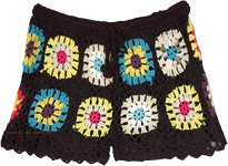 Black Bohemian Crochet Shorts with Multicolored Flowers