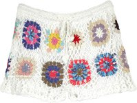 Snowy White All Crochet Shorts with Multicolored Floral Design
