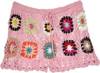 Pink Blossoms Crochet Shorts with Multicolored Flowers