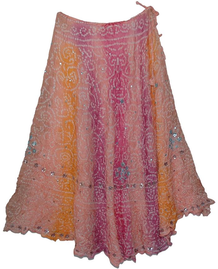 Tie Dye Fashion Silk Skirt with Mirror Sequins, Britney Romantic Silk Skirt