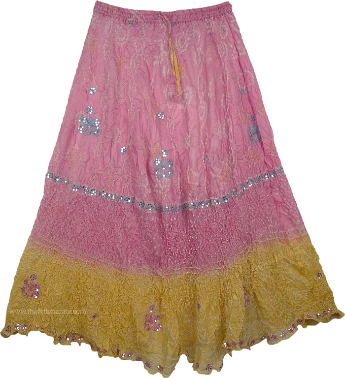 Tie Dye Crinkle Silk Skirt Yellow Pink, Sundance Love Pure Silk Skirt