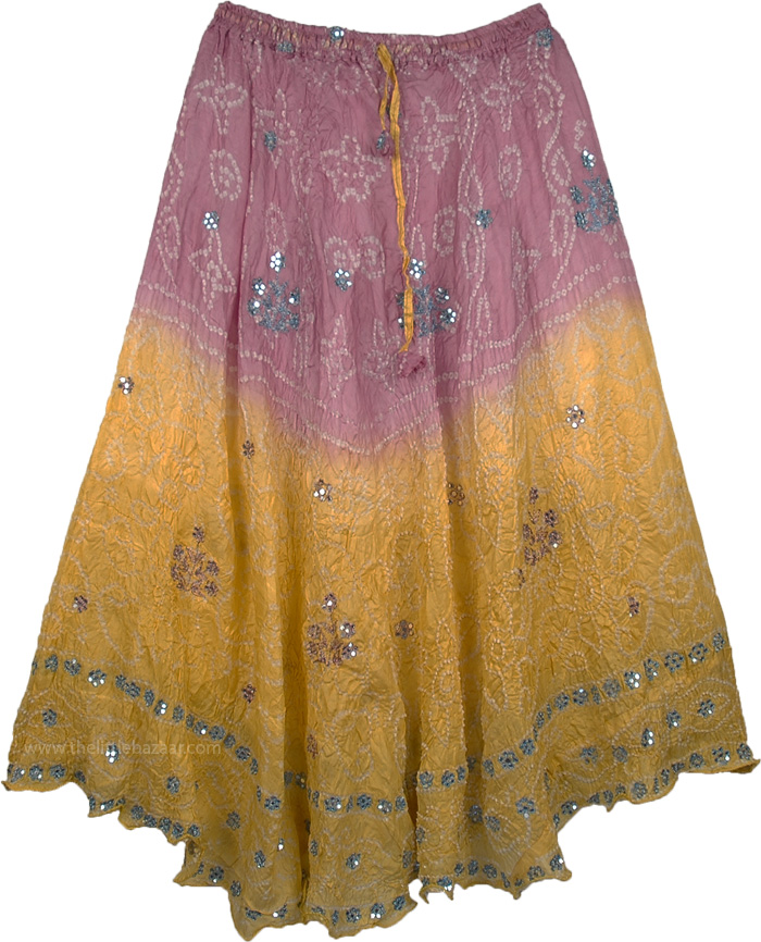 Tie Dye Crinkle Silk Skirt Pink Blue, Julia Romantic Silk Skirt