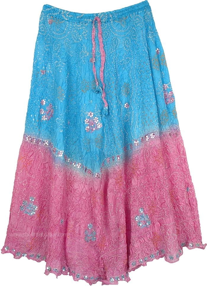 Blue and Pink Crushed Silk Skirt with Tie Dye And Sequins