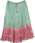 Tie Dye Crushed Silk Skirt in Aqua Green and Pink with Sequins