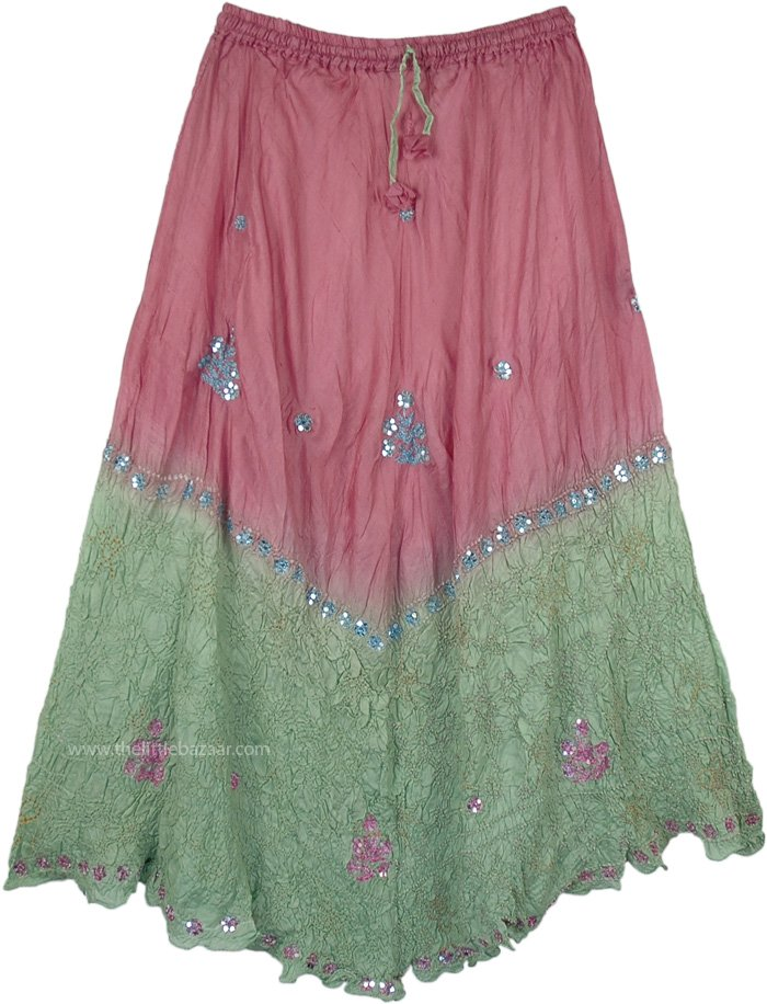 Rose and Pastel Green Sequined Pure Crushed Silk Skirt