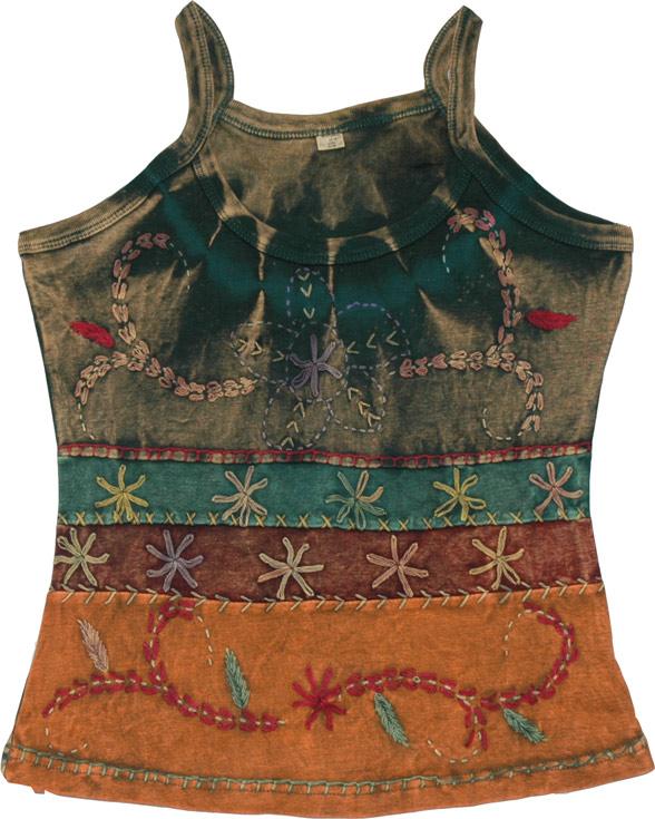 Green Tie Dye Tank Top, Tie Dye Tank Top With Embroidery