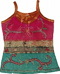 Embroidered Tank Top in Dark Pink [2215]