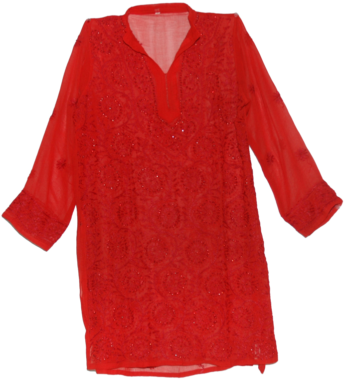 Womens Red Indian Tunic Shirt, Only Red Sequins Ladies Tunic Top