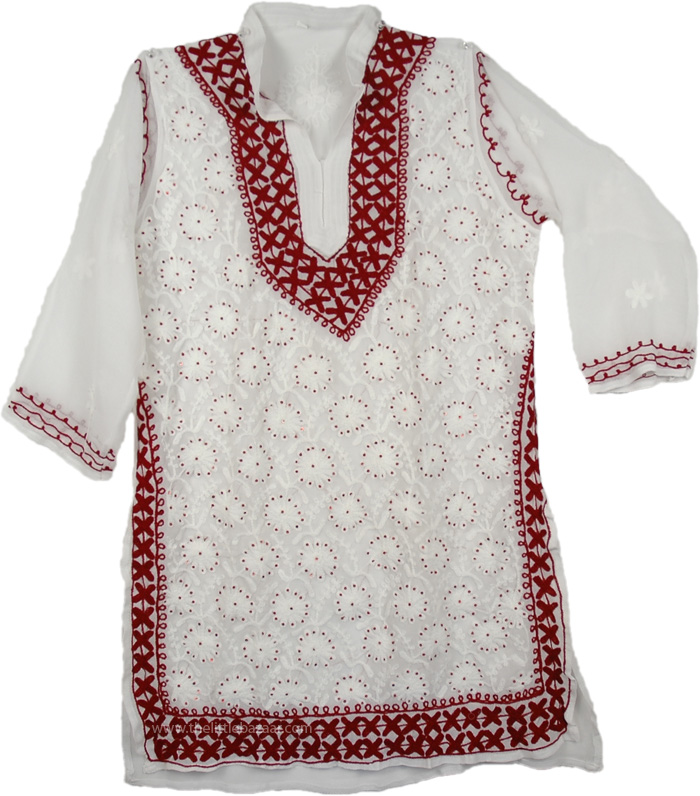 Tunic shirt for women with hand embroidery, Embroidered Tunic Top Summer Shirt