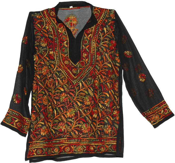 Flowers Tunic Shirt in Black with Color Embroidery, Floral Style Multicolored Embroidered Black Tunic