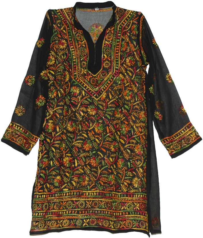 Flowers Tunic Shirt in Black with Embroidery, Embroidered Black Shirt Multicolored Floral