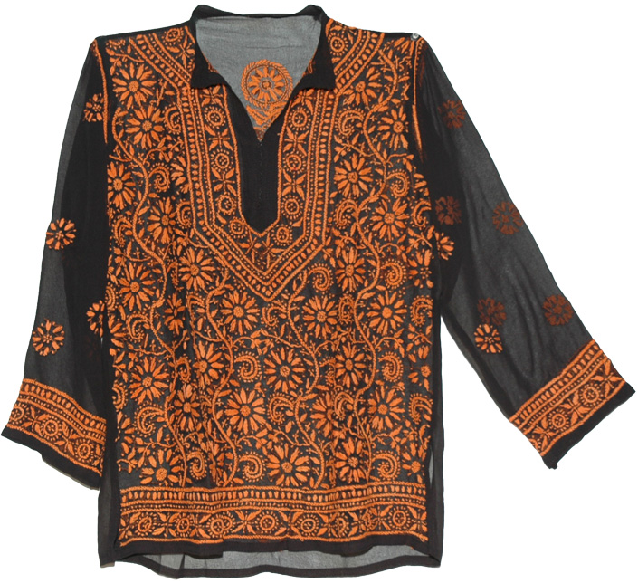 Tunic Shirt in Black with Orange Embroidery, Floral Style Jaffa Embroidered Black Tunic