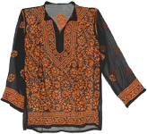 Floral Style Jaffa Embroidered Black Tunic