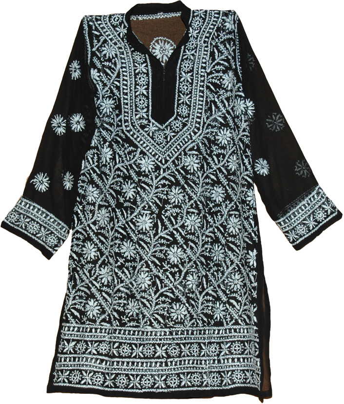 Tunic Shirt in Black with White Embroidery, White Chikan Embroidered Black Tunic