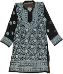 Tunic Shirt in Black with White Embroidery [2476]
