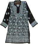 White Chikan Embroidered Black Tunic