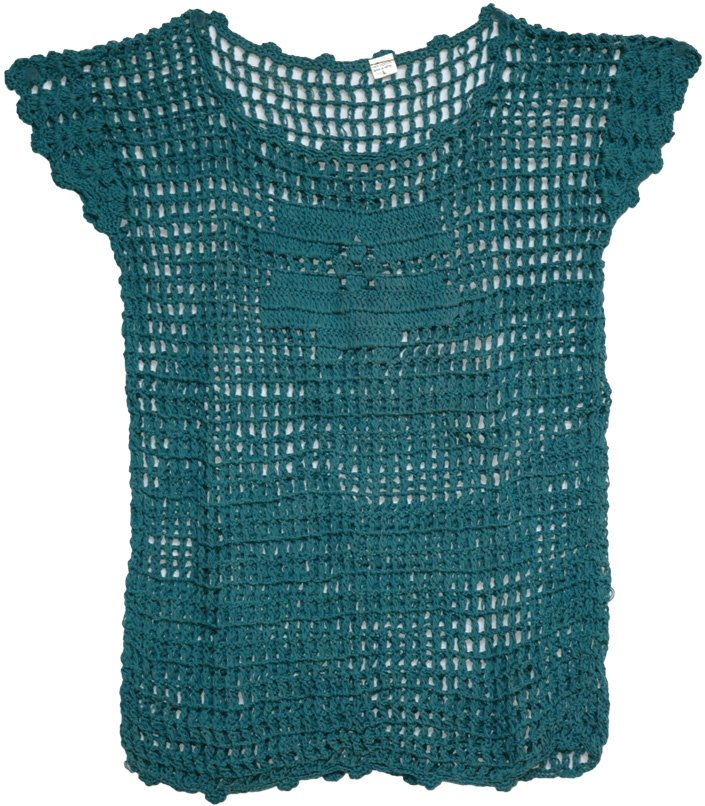 Crochet Net : Crochet Net Chic Top, Crochet Net Green Boho Top