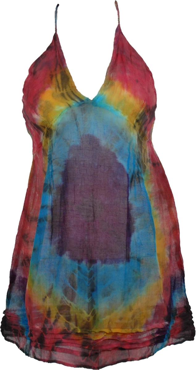 See Through Cotton Colorful Tunic , Tie Dye Dye Design Beach Tunic
