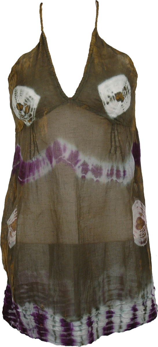 See Through Cotton Brown Tunic , Earthy Tie Dye Circles Beach Tunic