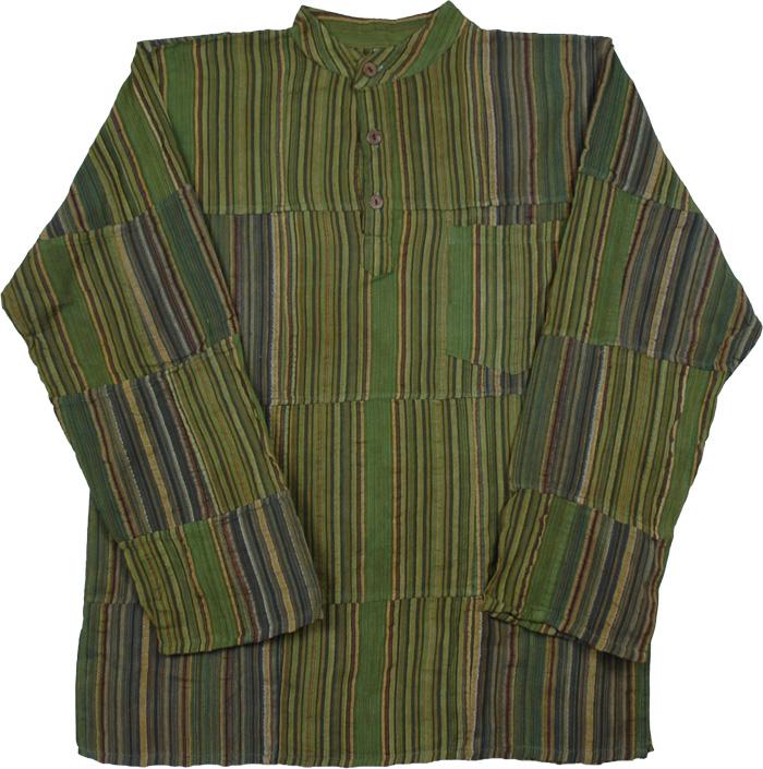 Himalayan Green Striped Kurta Shirt, Savannah Green Bohemian Shirt