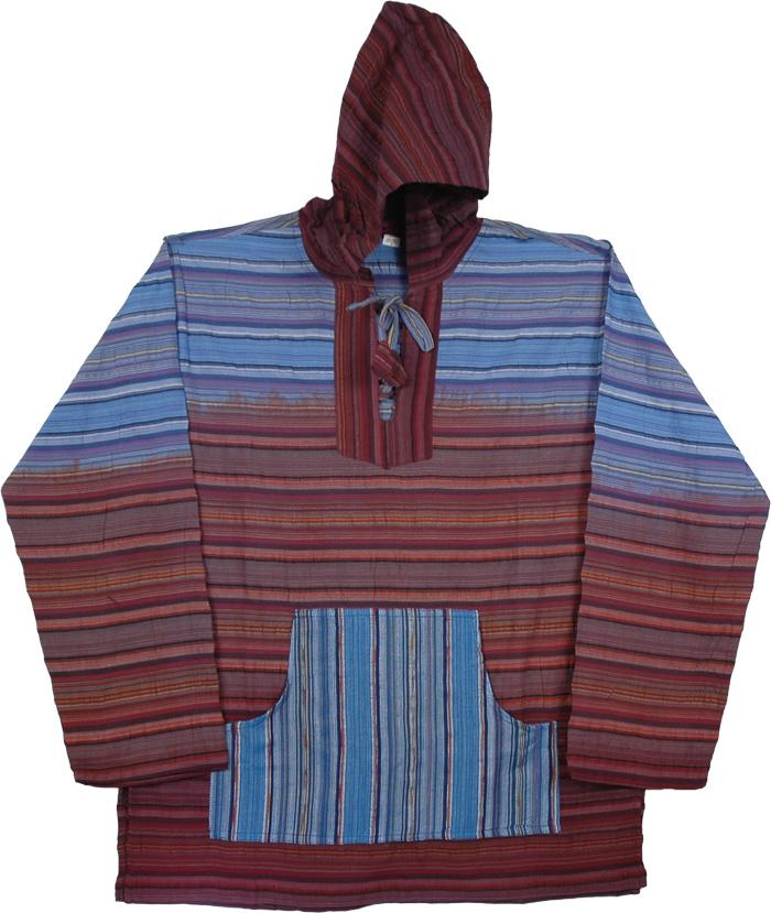 Kathmandu Cotton Striped Hoodie, Blue Rust Bohemian Shirt