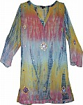 Womens Tunic Shirt Tie Dye Embroidered
