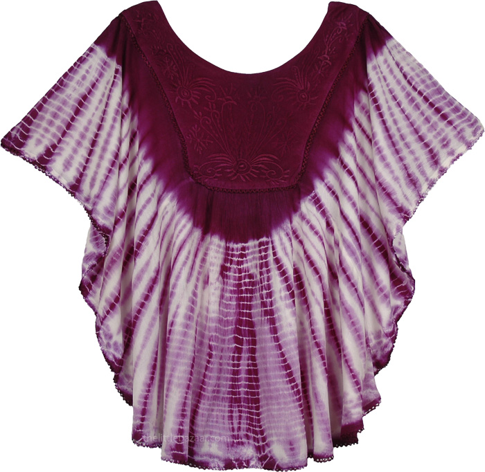 Purple Tie Dye Poncho Top for Summer, Mulberry Wood Tie Dye Poncho Top