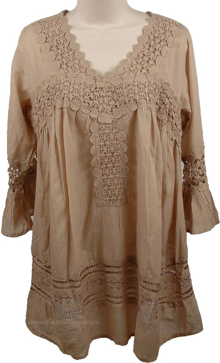 Womens Tunic Shirt In Sand, Grandis Summer Cool Tunic Shirt