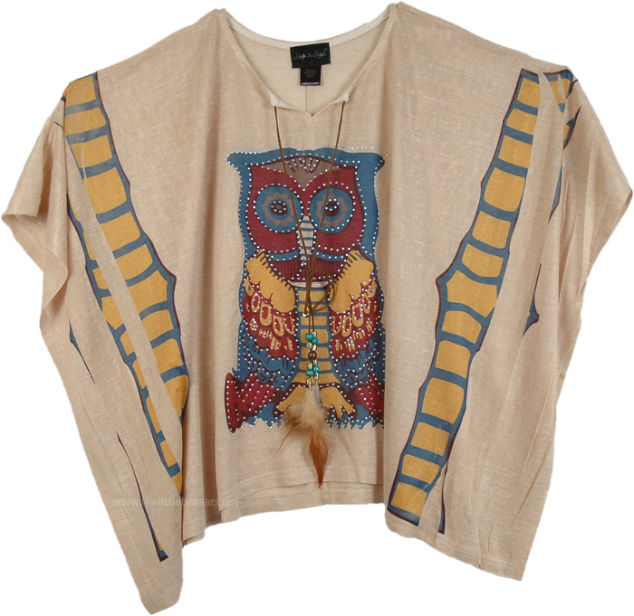 Poncho Top for Summer, Embellished Owl Pattern Poncho Top