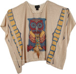 Embellished Owl Pattern Poncho Top