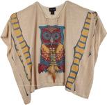 Embellished Owl Pattern Poncho Top