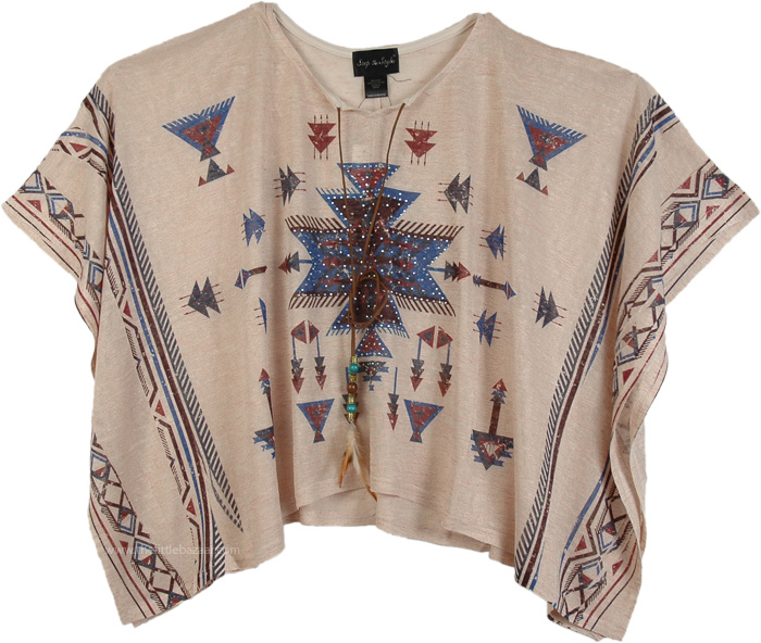 Azteca Poncho Top for Summer, Embellished Azteca Pattern Poncho Top