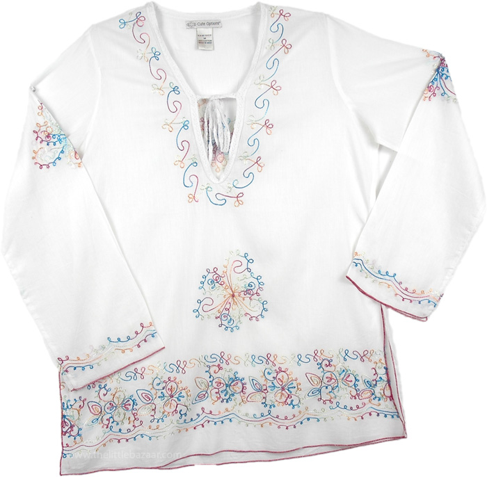 White Cotton Tunic with Embroidery, White Embroidered Tunic Top