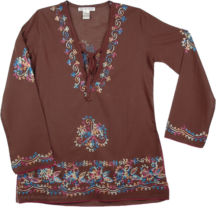 Brown Cotton Tunic with Embroidery, Congo Brown Embroidered Tunic Top