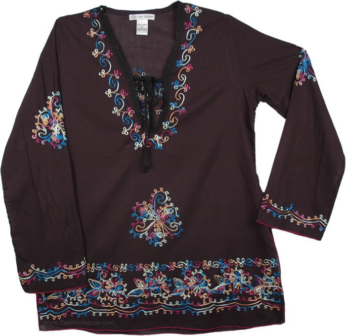 Black Cotton Tunic with Embroidery, Gondola Embroidered Tunic Top