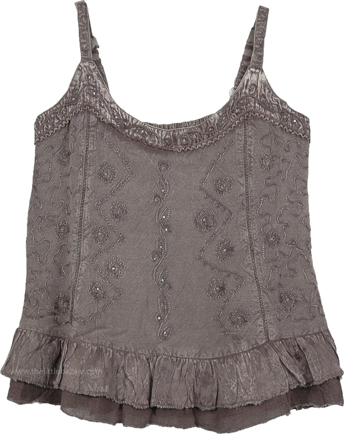 Summer Boho Chic Tank Top in Gray, Dusty Gray Medieval Tank Top