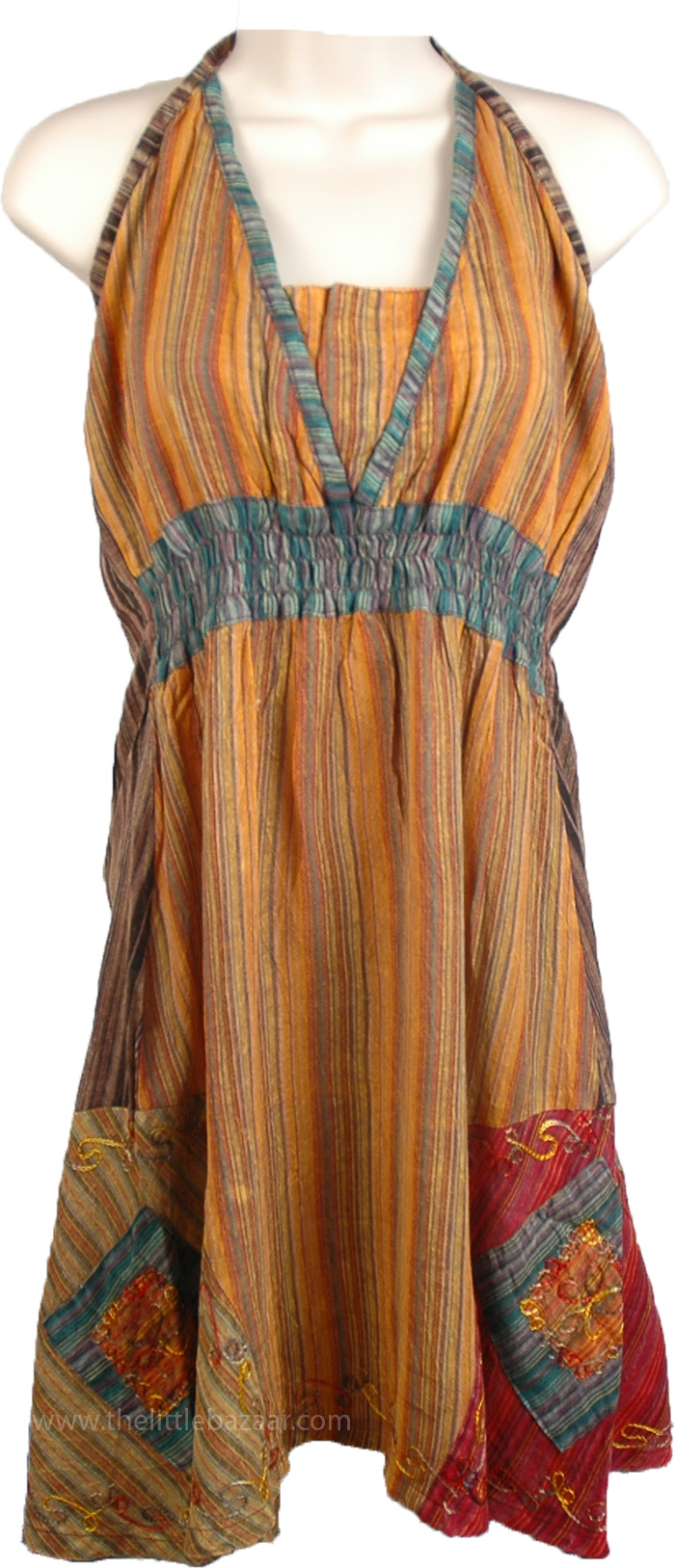 Patchwork Embroidered Halter Top, Sexy Lady Boho Halter Neck Top in Cotton
