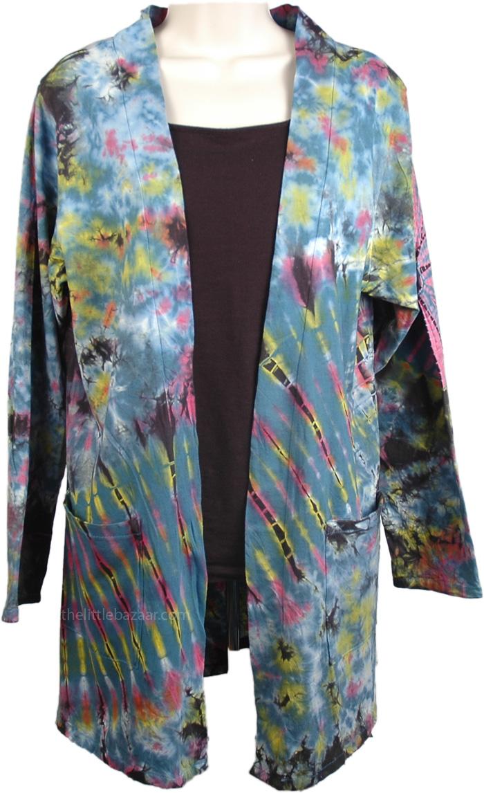 Thai Length Cotton Long Sleeve Jacket, Tie Dye Cotton Summer Jacket