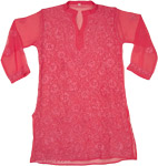 Carnation Pink Sheer Tunic Shirt with Embroidery