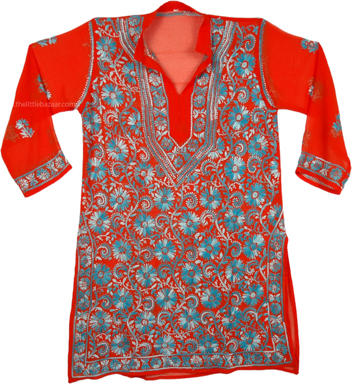 Scarlet Tunic Shirt in Blue Embroidery, Scarlet Chikan Georgette Tunic For Women