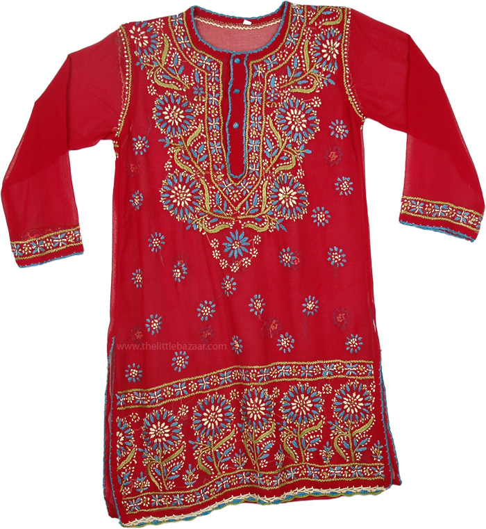 Red Tunic Shirt in Blue Embroidery, Shiraz Sheer Georgette Tunic For Women