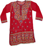 Red Tunic Shirt in Blue Embroidery [4539]