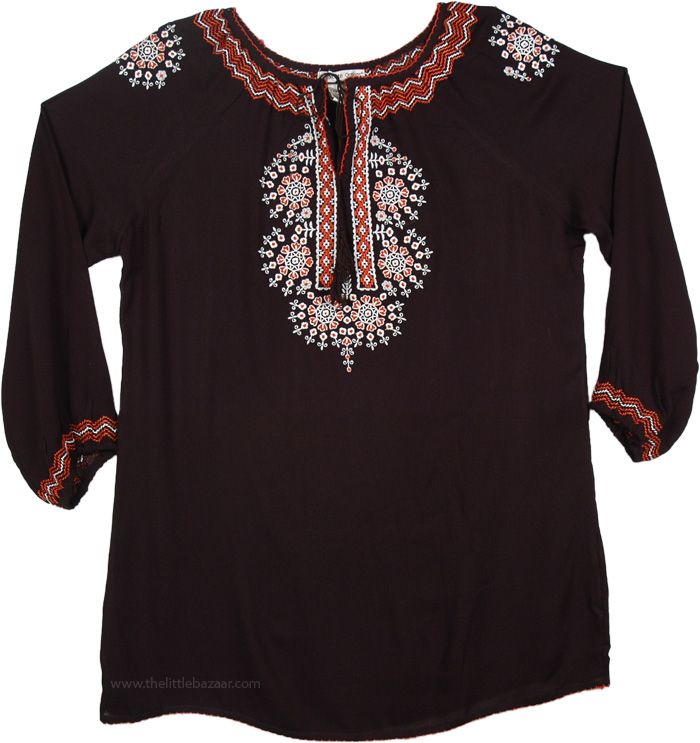 Black Tunic Top with Floral Embroidered, Onyx Full Sleeve Floral Embroidered Tunic