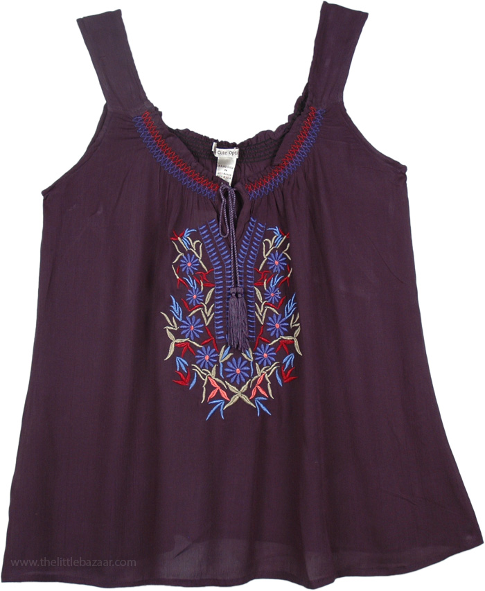 Navy Blue Summer Top Shirt with Embroidery, Embroidered Navy Tank Top For Women
