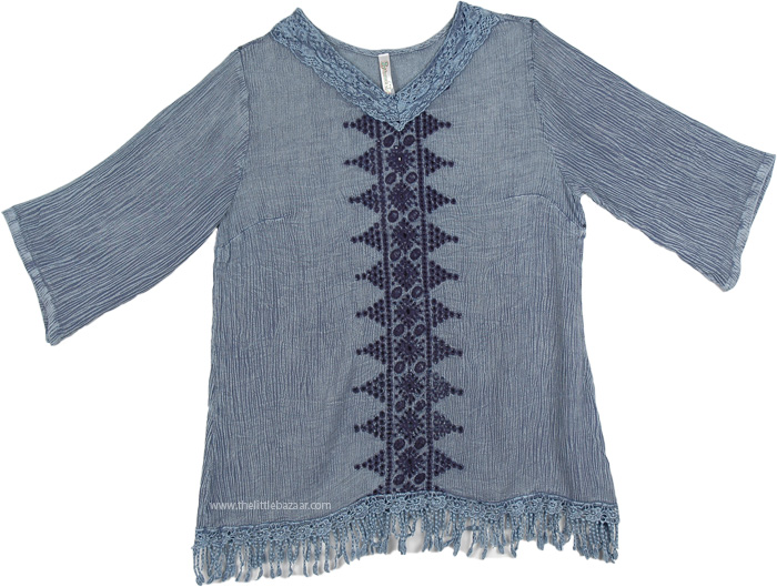 Blue Stone Wash Tunic with Fringe, Acid Wash Tunic Top With Fringe