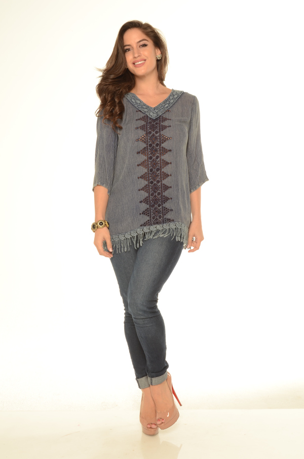 Acid Wash Tunic Top With Fringe